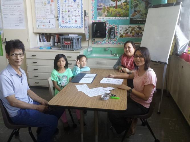 Teachers review student progress then parents and students learn strategies to practice key skill at home during the FTAT meeting.